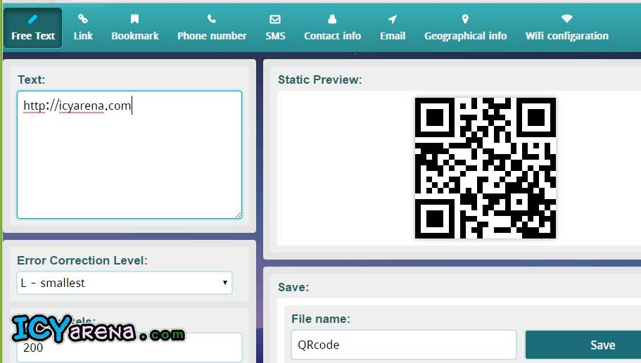 Easily Convert Text,  Password,  SMS,  Email,  Phone number etc,  into QR Code