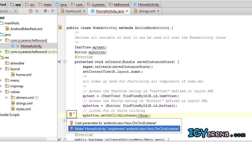 Create your first android app with Android Studio - icyarena com