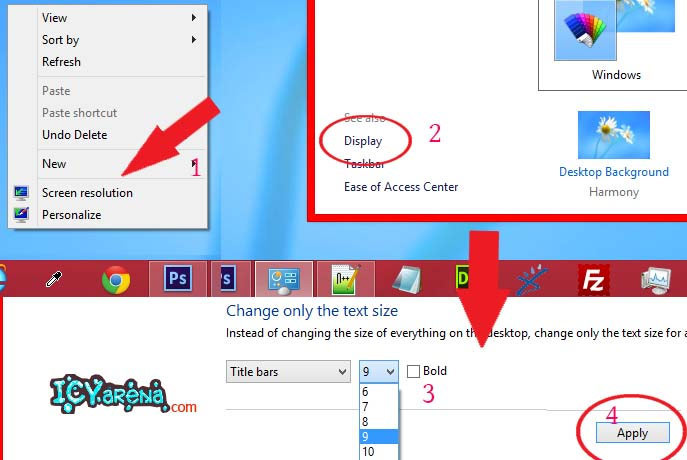 How to decrease window border and title bar height bar of windows 8